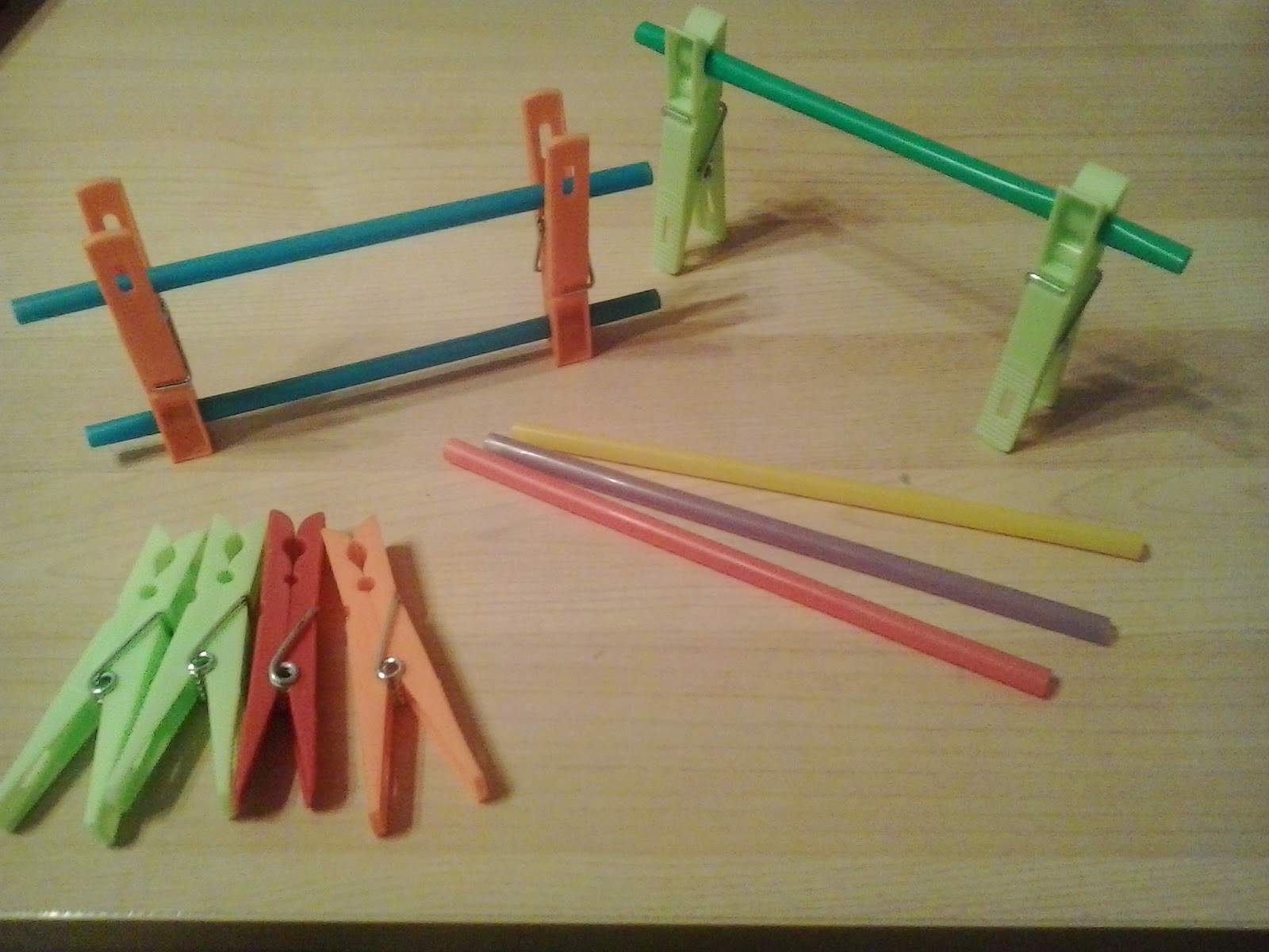 Barriers with straws and clothespins